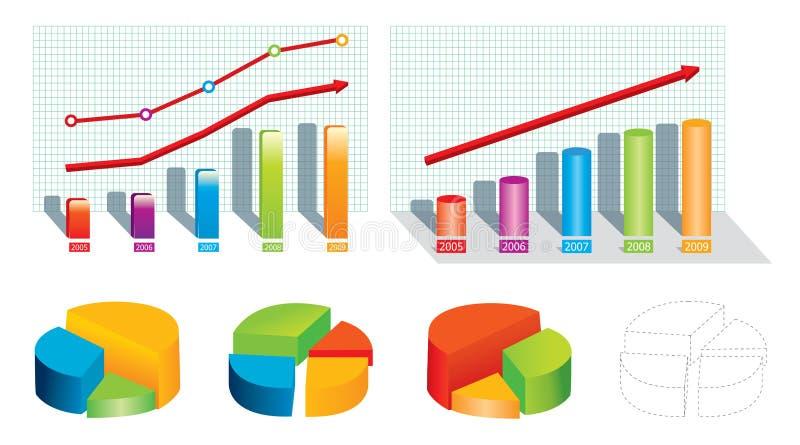 Barra y gráfico de sectores stock de ilustración