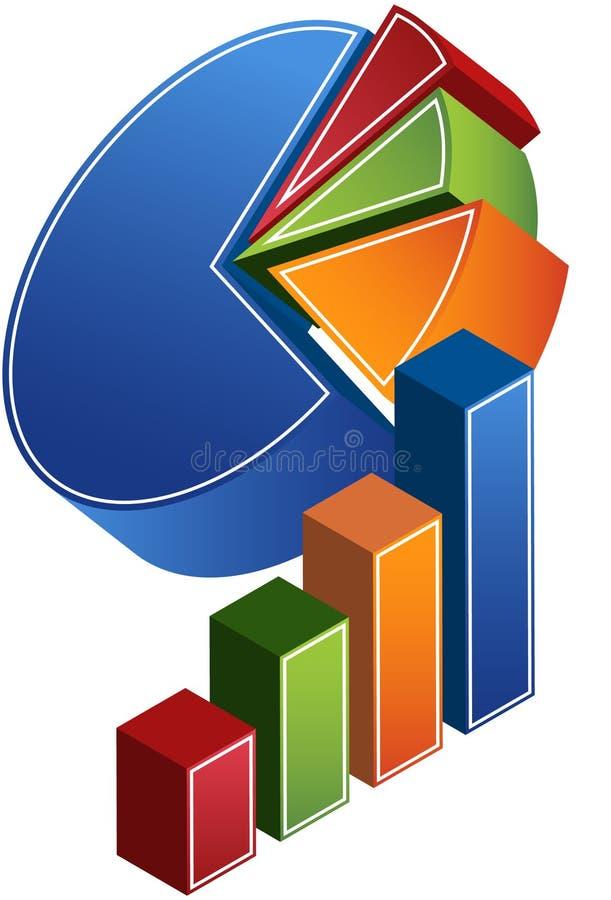 Barra y gráficos circulares ilustración del vector
