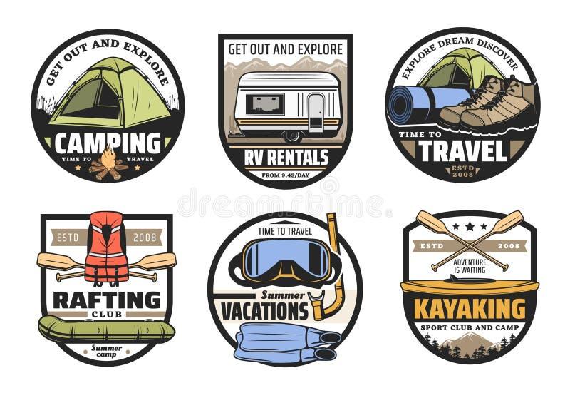 Barraca de acampamento, botas, barco, rv e caiaque Curso ilustração do vetor