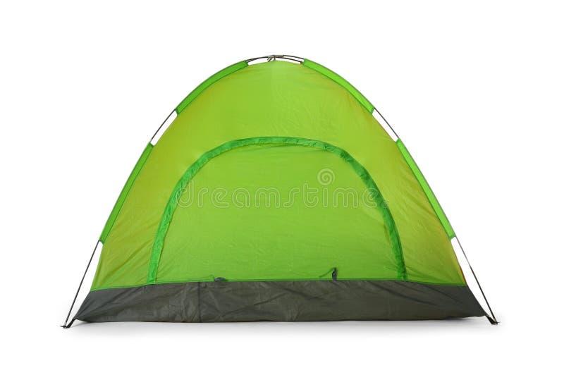 Barraca de acampamento verde confortável no branco fotografia de stock