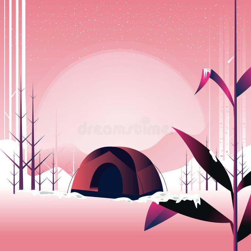 Barraca do acampamento e do turista no prado nevado, acampando e caminhando no inverno, ilustração do vetor do conceito da aventu ilustração do vetor