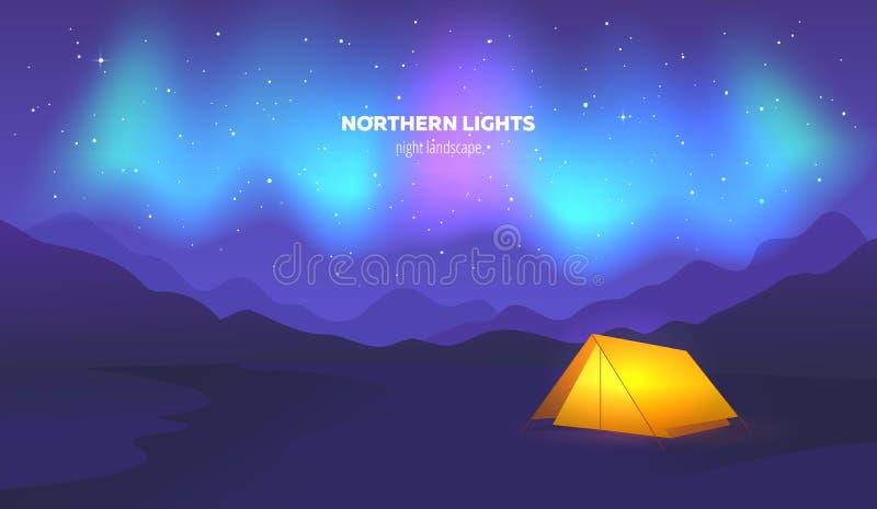 Barraca do acampamento sob a aurora boreal bonita no céu noturno Ilustração do vetor ilustração do vetor