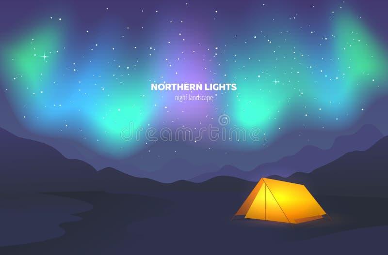 Barraca do acampamento sob o céu noturno Paisagem com aurora boreal bonita Ilustração do vetor ilustração stock