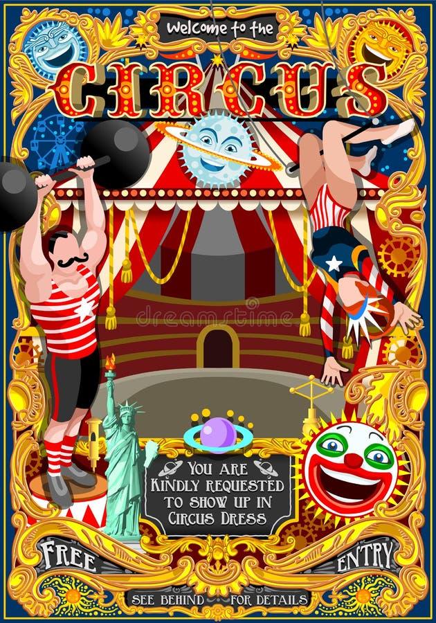 A barraca do cartaz do parque do carnaval do circo convida o vetor Illustratio do tema ilustração royalty free