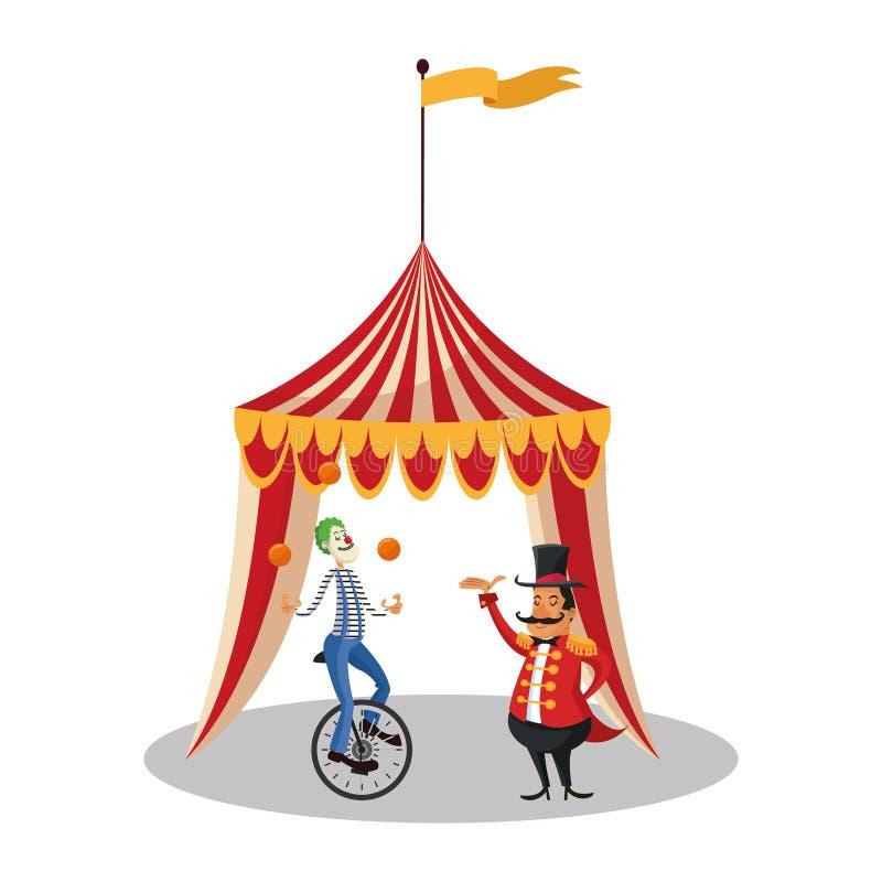 A barraca e o palhaço do circo e do carnaval projetam ilustração royalty free