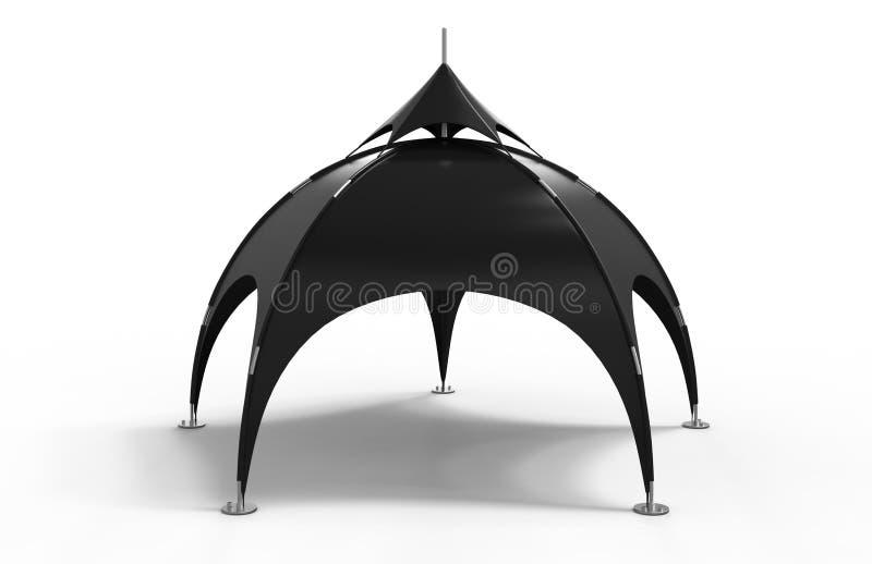 Barraca Geodesic da abóbada da propaganda da barraca da aranha do arco com o arco para eventos diferentes 3d rendem a ilustração ilustração do vetor