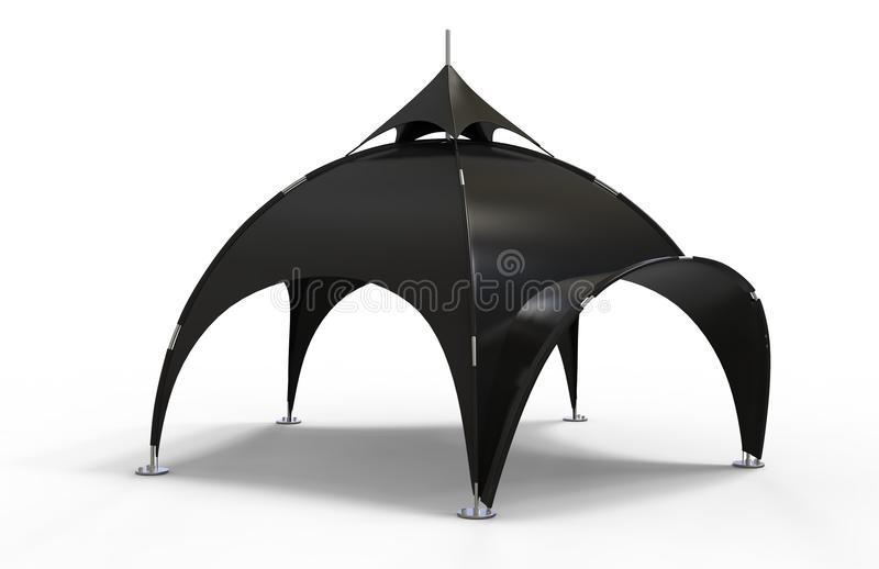 Barraca Geodesic da abóbada da propaganda da barraca da aranha do arco com o arco para eventos diferentes 3d rendem a ilustração ilustração royalty free