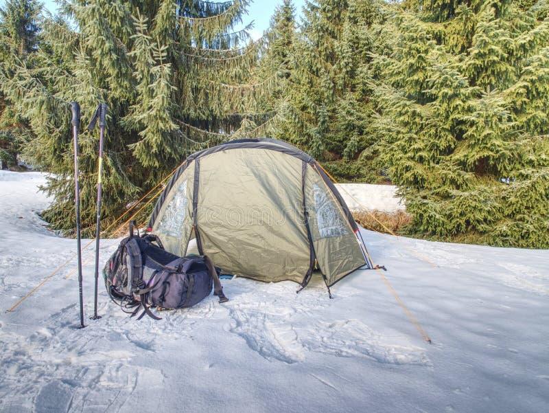 Barraca leve do turista entre a neve e as árvores Junte-se à cruz do inverno imagem de stock royalty free