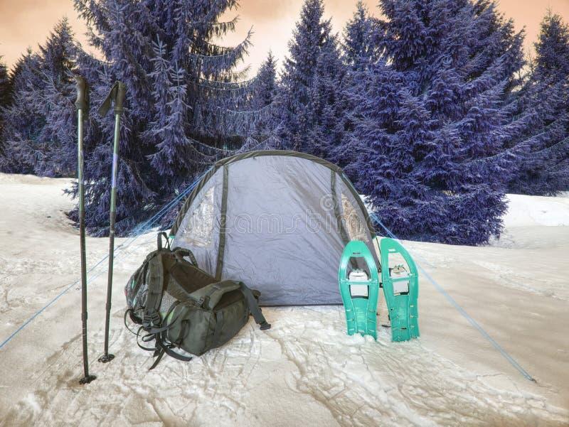 Barraca leve do turista entre a neve e as árvores Junte-se à cruz do inverno foto de stock