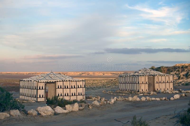Barracas beduínas, Western Sahara foto de stock