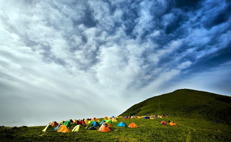 Barracas de acampamento fotografia de stock
