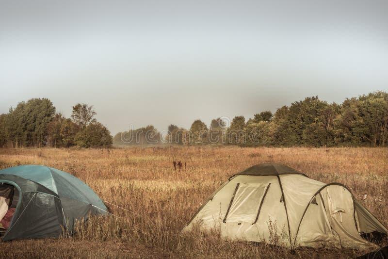 Barracas de acampamento no local de acampamento no campo nevoento do verão da manhã com a floresta no fundo durante o turismo l d imagens de stock royalty free