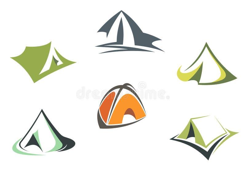 Barracas do acampamento do curso e da aventura ilustração do vetor