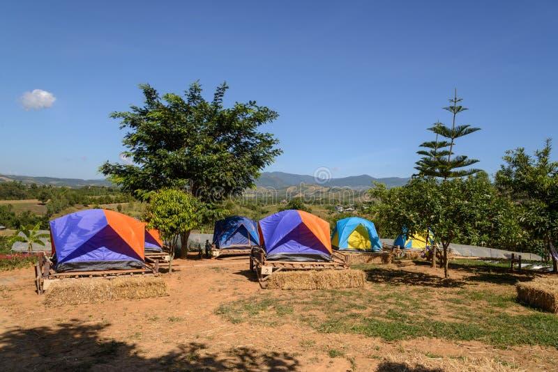 Barracas do turista que acampam entre o prado na montanha fotografia de stock royalty free