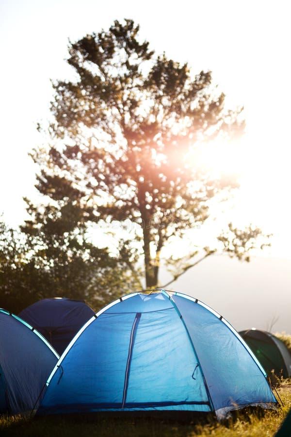 Barracas em um acampamento na natureza imagens de stock royalty free