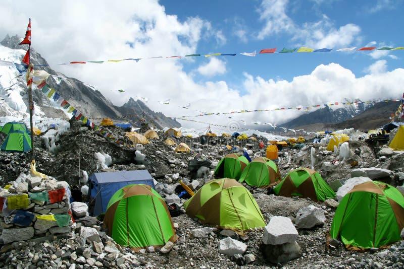 Barracas no acampamento base de Everest imagem de stock