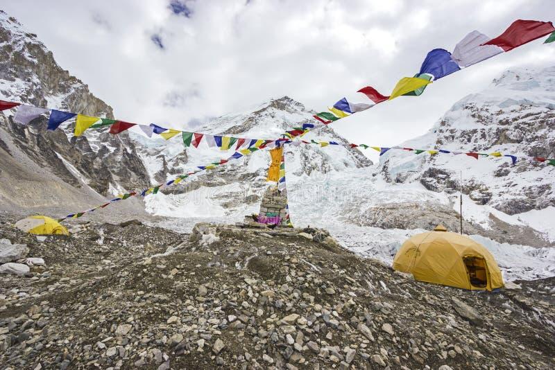 Barracas no acampamento base de Everest, Nepal. fotos de stock
