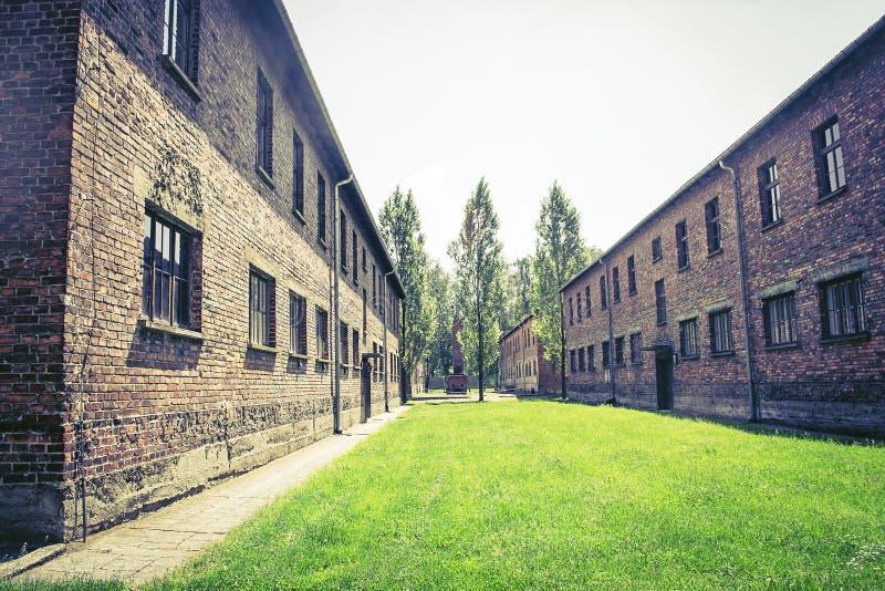 Auschwitz-Birkenau, concentration camp, Poland. Barracks of the former nazi extermination camp of Auschwitz-Birkenau in Oswiecim, Poland stock photos
