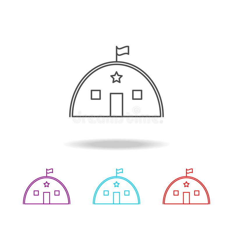 Barracks, military tent line icon. Elements of military in multi colored icons. Premium quality graphic design icon. Simple icon f. Or websites, web design royalty free stock images