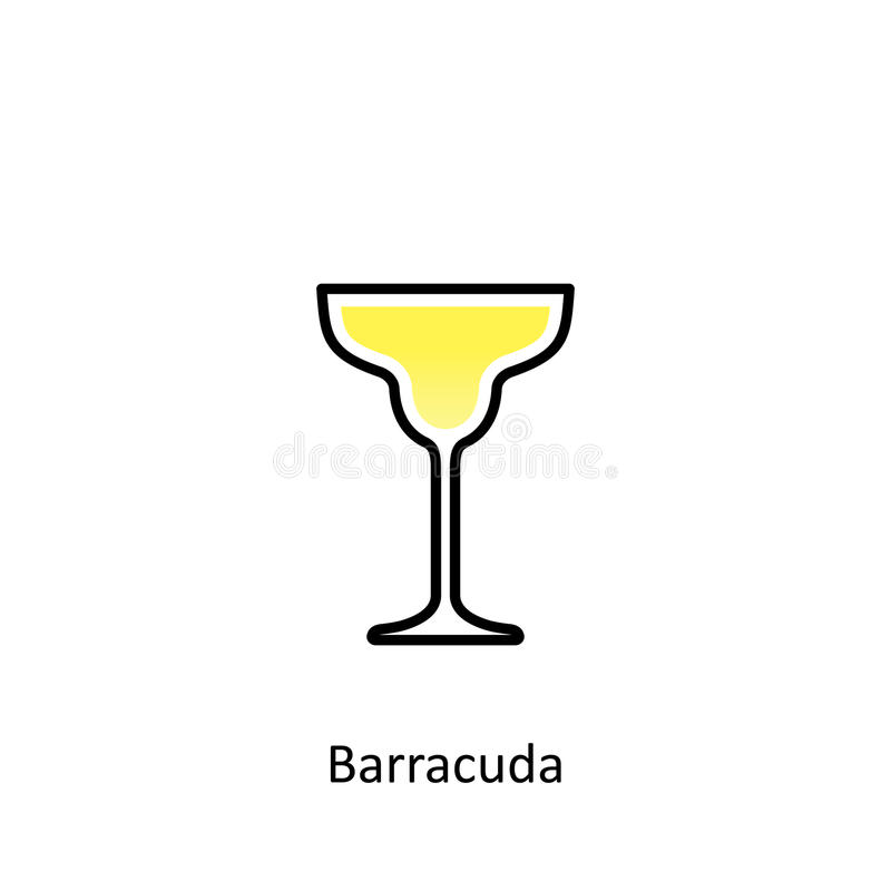 Barracuda cocktail icon in flat style. Vector illustration royalty free illustration