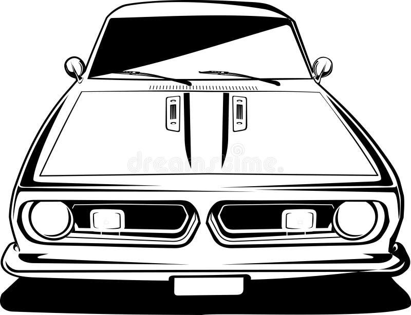 barracuda czarny frontowego widok biel ilustracja wektor