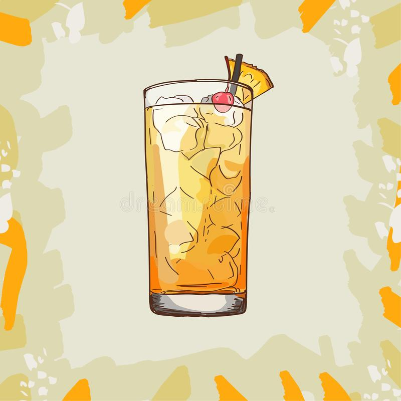 Barracuda Hard Contemporary classic cocktail with gold rum, Galliano, pineapple juice, lemon and dry wineillustration. Alcoholic. Barracuda Contemporary classic vector illustration