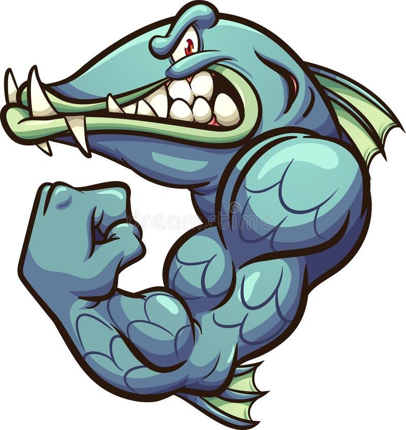 Strong angry cartoon barracuda fish mascot vector illustration