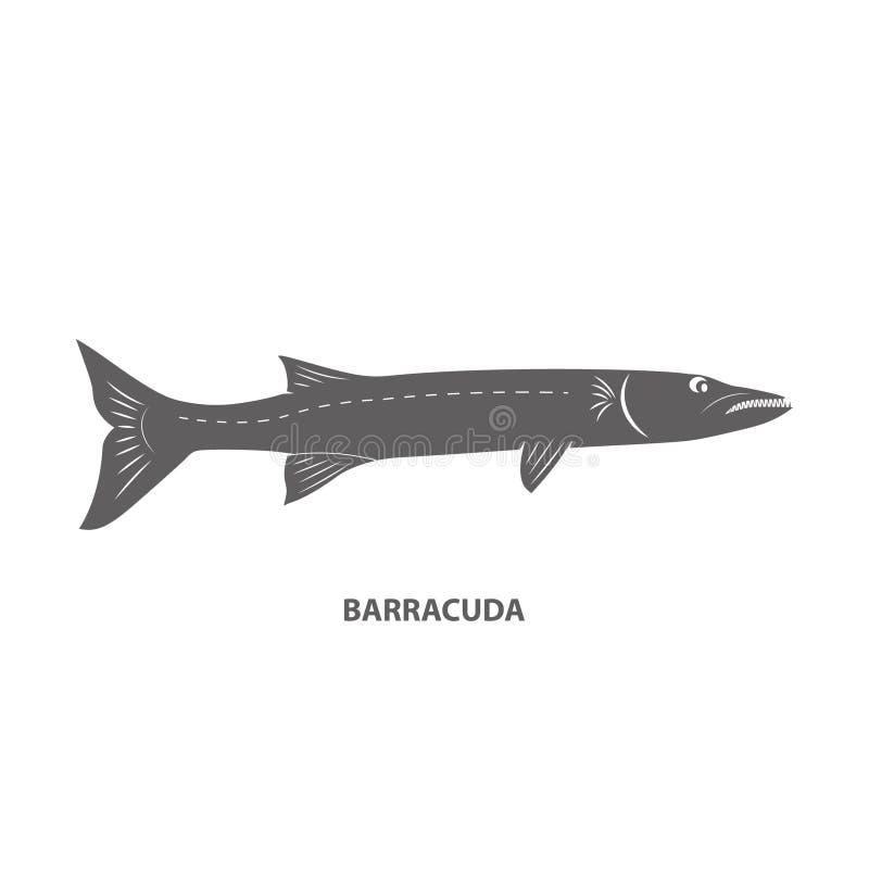 Barracuda rybia czarna ikona na białym backgound ilustracji