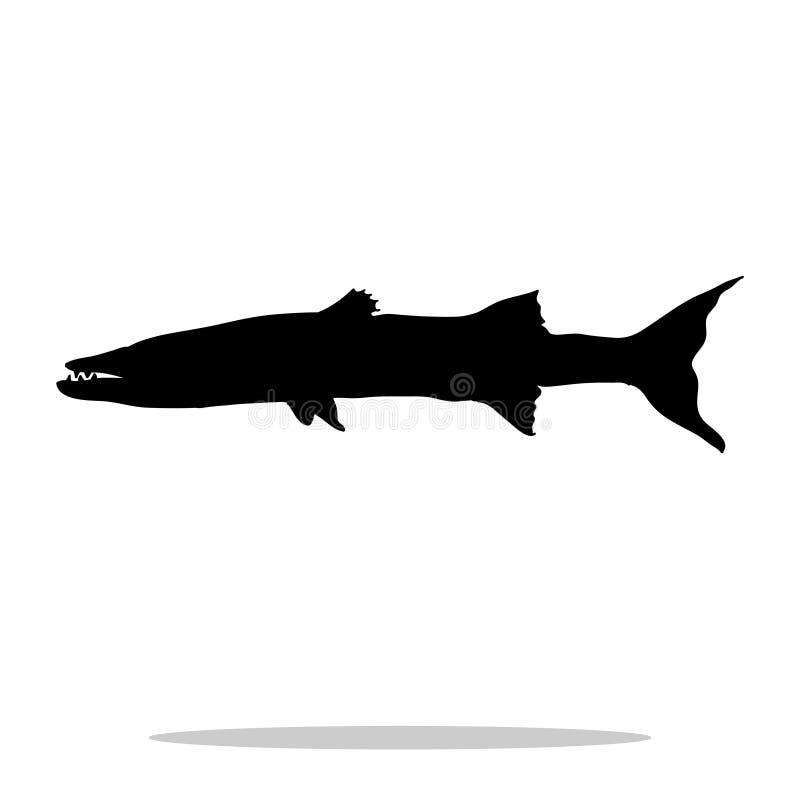Barracuda rybiej czarnej sylwetki nadwodny zwierzę ilustracja wektor