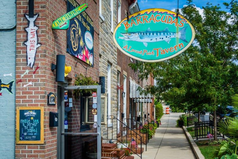 Barracudas tawerna w szarańcza punkcie, Baltimore, Maryland obraz royalty free