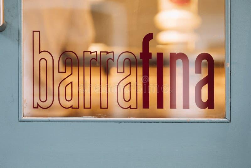Barrafina restaurangSignage - Soho, London arkivfoton