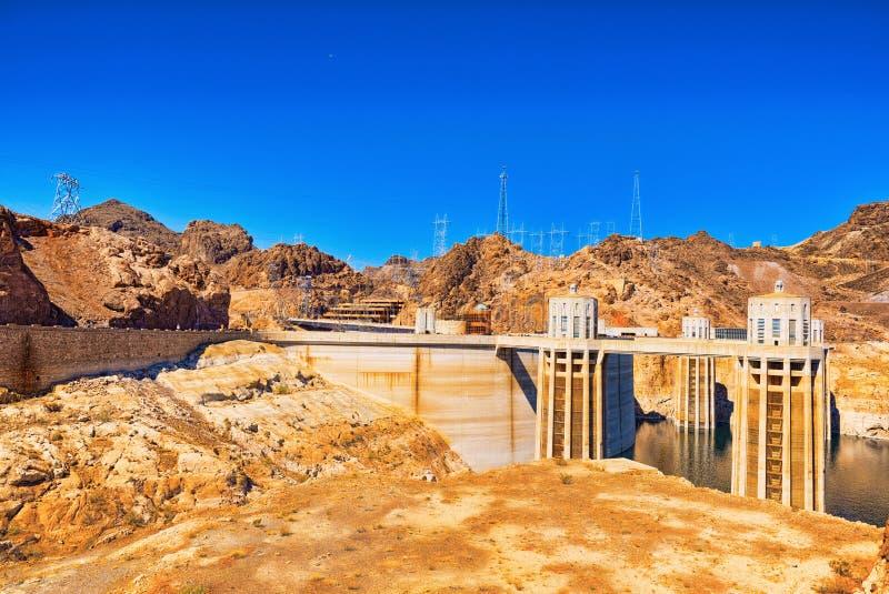 Barrage de Hoover célèbre et étonnant à la frontière du Lake Mead, du Nevada et de l'Arizona image stock