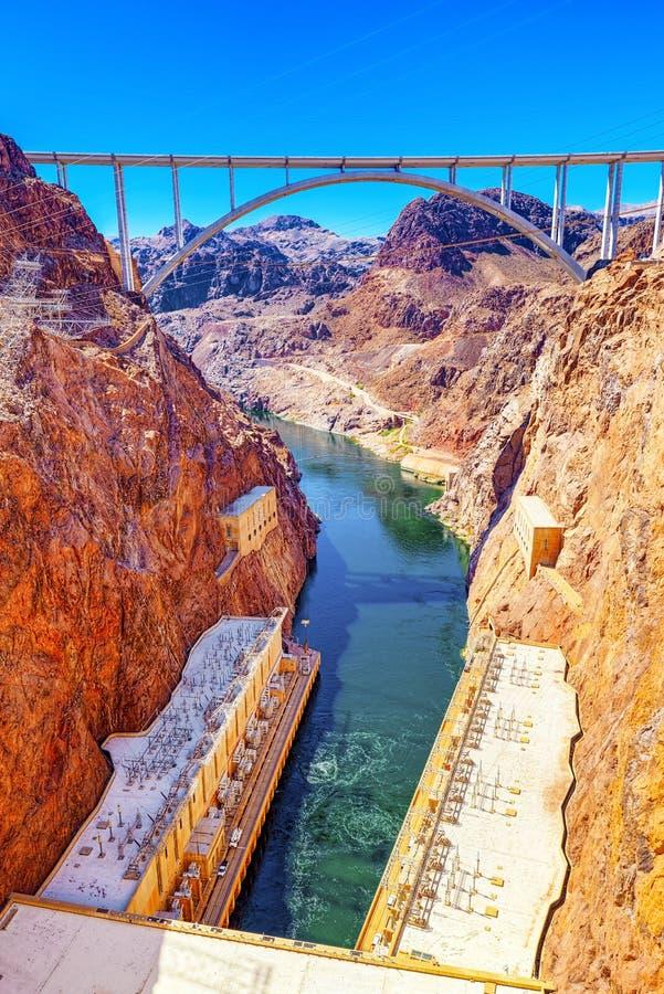 Barrage de Hoover célèbre et étonnant à la frontière du Lake Mead, du Nevada et de l'Arizona photos stock