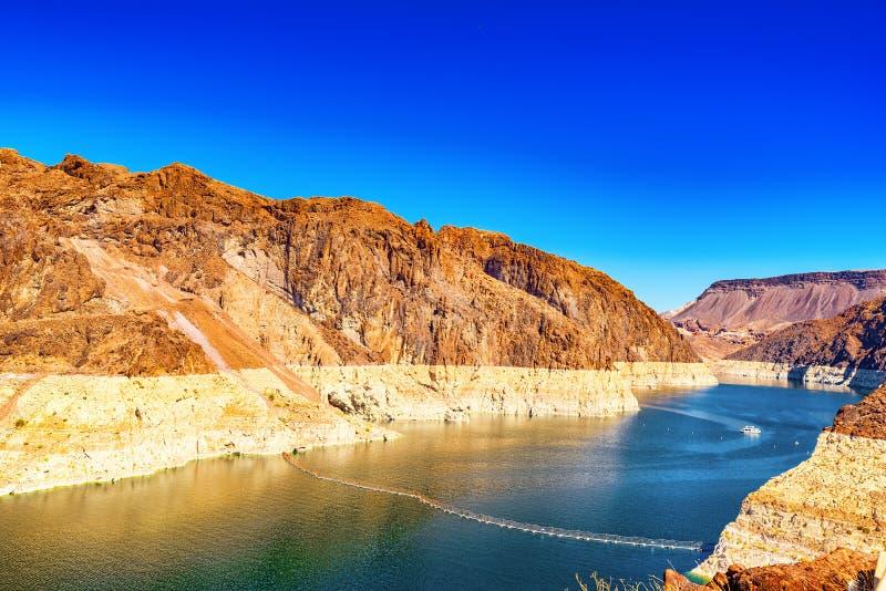 Barrage de Hoover célèbre et étonnant à la frontière du Lake Mead, du Nevada et de l'Arizona photos libres de droits