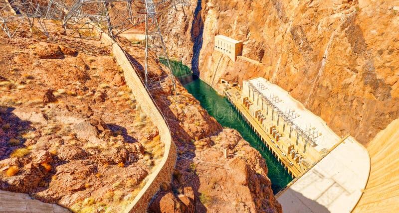 Barrage de Hoover célèbre et étonnant à la frontière du Lake Mead, du Nevada et de l'Arizona photographie stock libre de droits