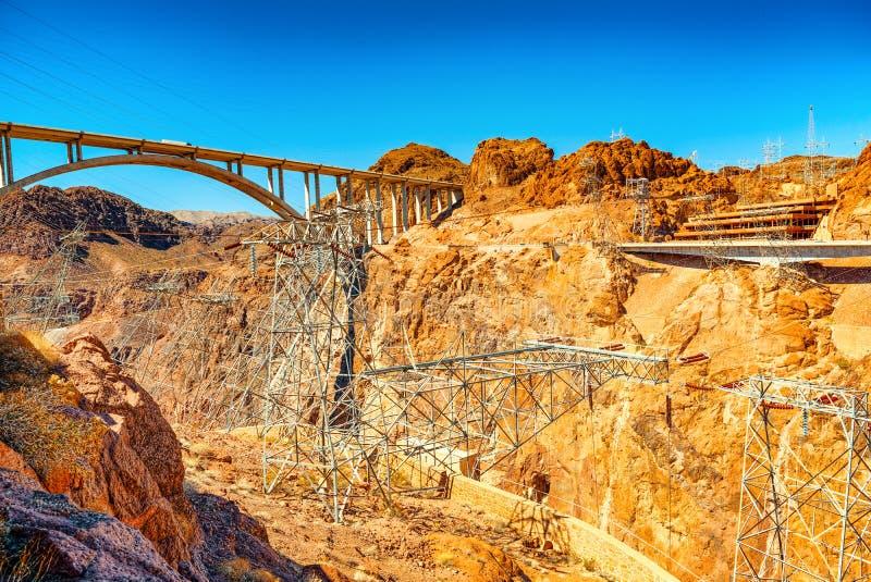 Barrage de Hoover célèbre et étonnant à la frontière du Lake Mead, du Nevada et de l'Arizona photo stock