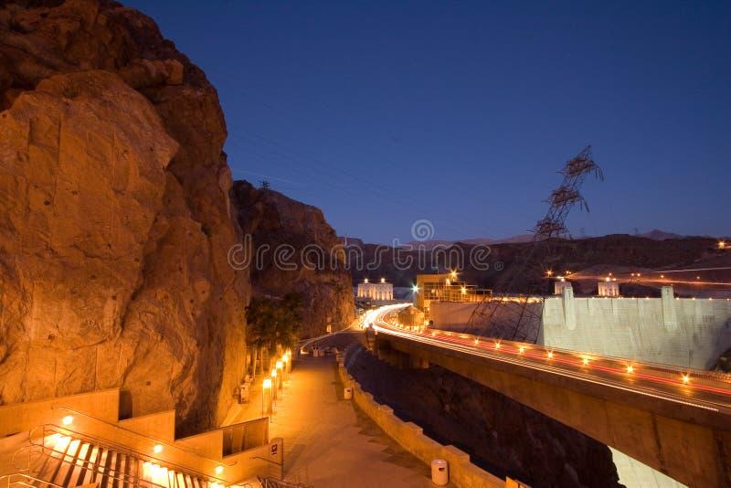 Barrage de Hoover la nuit photo libre de droits