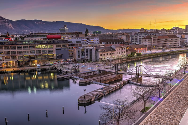 Barrage de Seujet sur le Rhône, Genève, Suisse image stock