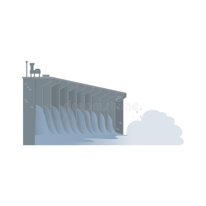 Barrage hydro-électrique de l'eau, source d'énergie viable illustration stock