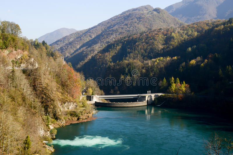 The barrage lake of Palagnedra on Centovalli valley stock image