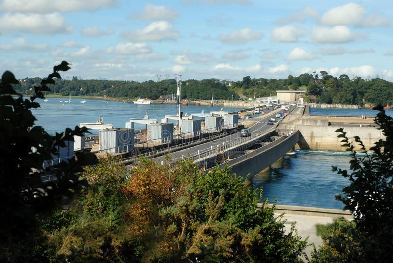 Barrage of rancidity in Brittany. Rance tidal power plant in Dinard, France royalty free stock photo