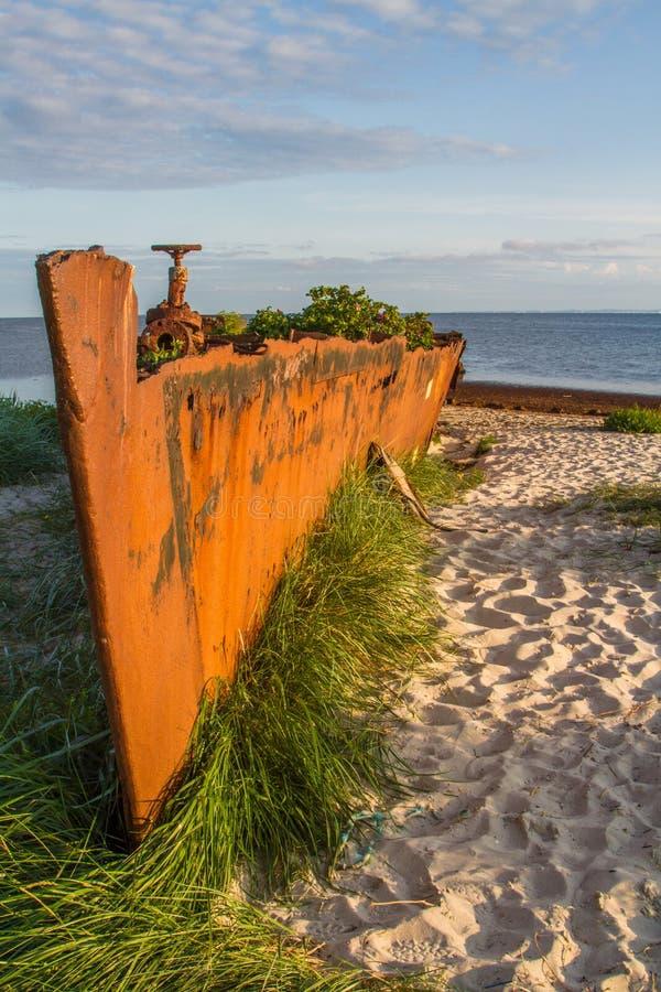 Barrage sur la plage Hel, Pologne images libres de droits