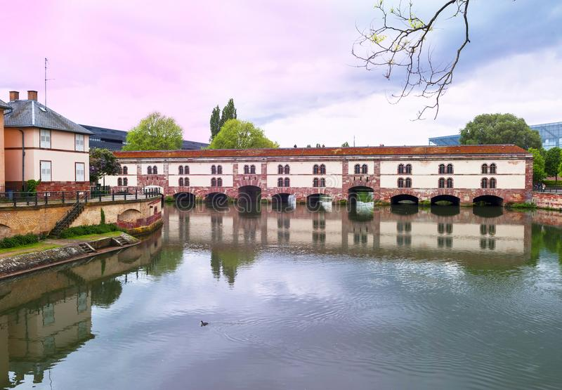 Barrage Vauban bridge. View on Barrage Vauban on a gloomy day. Strasbourg, France royalty free stock photo