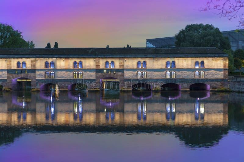 Barrage Vauban bridge. View on Barrage Vauban at night. Strasbourg, France stock images