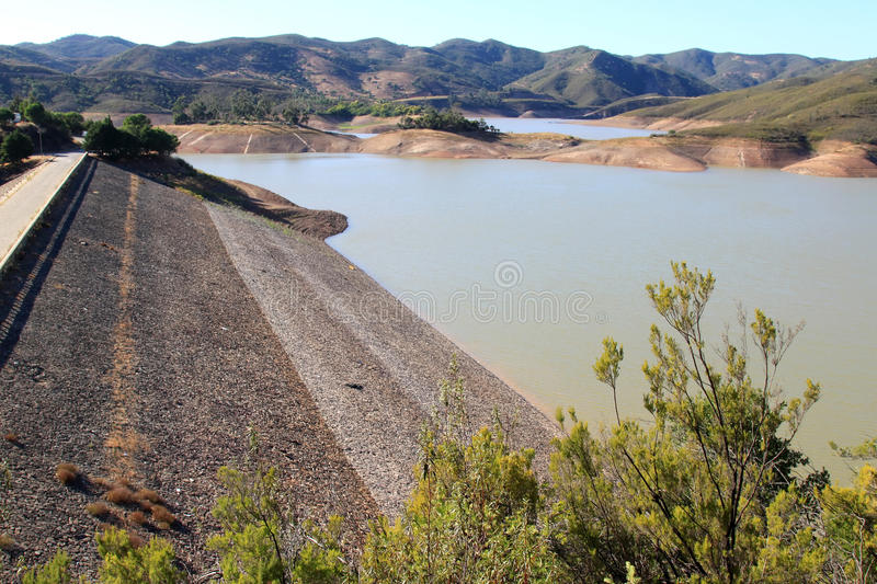 Barragem do Arade in the Algarve, Portugal. The Barragem do Arade was built in the years between 1944 and 1956. It is one of the main reservoirs of water in the stock photography