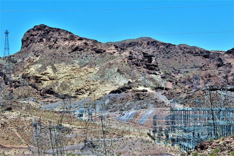 Barragem Hoover, departamento da recuperação, Clark County, Nevada/Mohave County o Arizona, Estados Unidos fotografia de stock