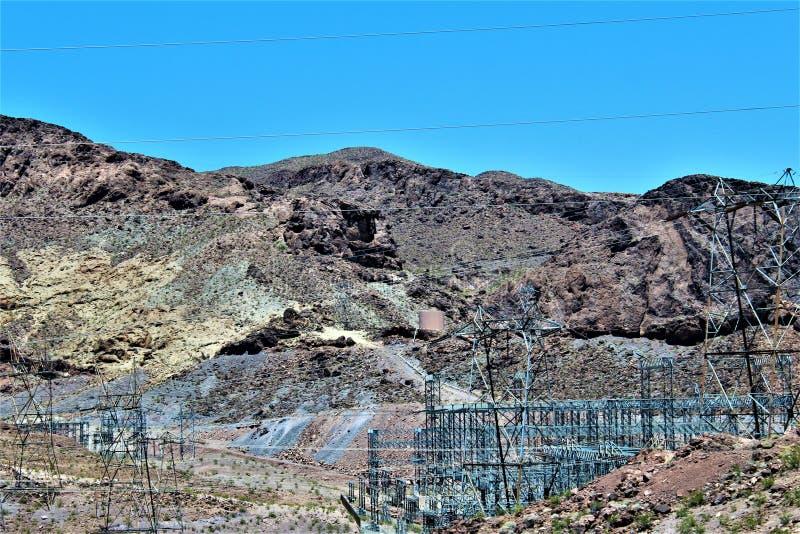 Barragem Hoover, departamento da recuperação, Clark County, Nevada/Mohave County o Arizona, Estados Unidos fotografia de stock royalty free