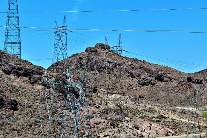 Barragem Hoover, departamento da recuperação, Clark County, Nevada/Mohave County o Arizona, Estados Unidos fotos de stock royalty free