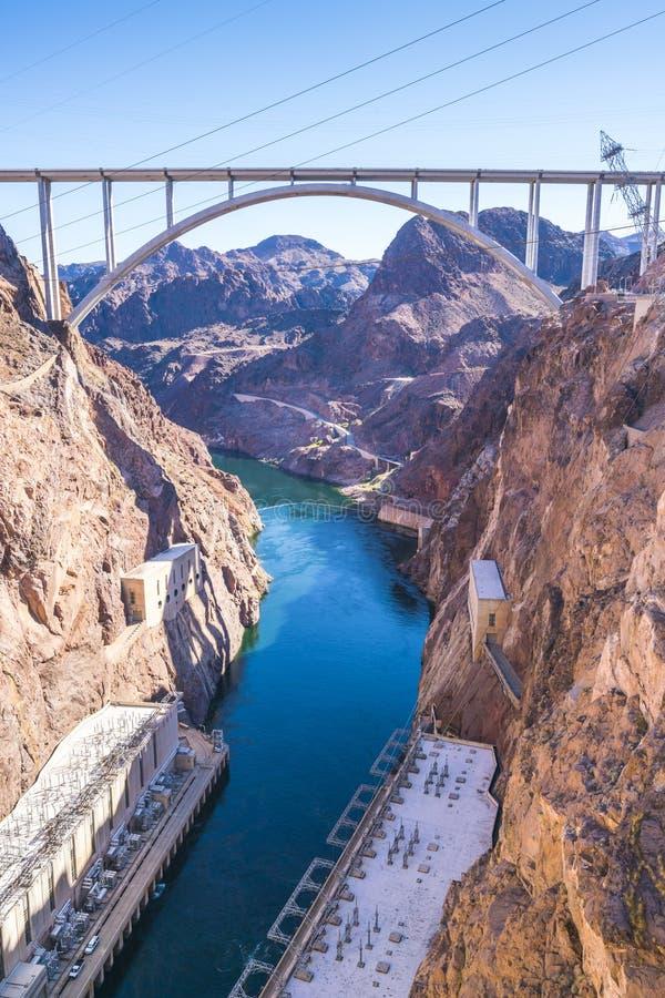 Barragem Hoover no dia ensolarado, Nevada, EUA imagem de stock