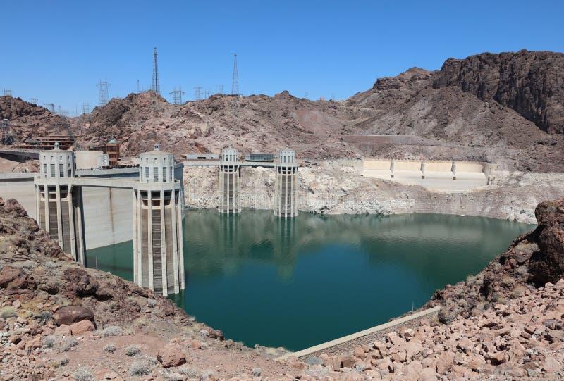Barragem Hoover no Rio Colorado no Stateline do Nevada-Arizona imagem de stock royalty free